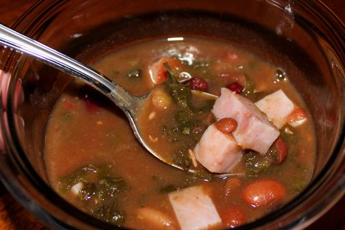15 Bean Soup with Kale and Ham