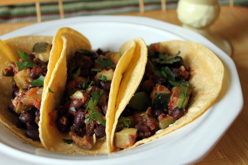 Black Bean Zucchini Olive Tacos