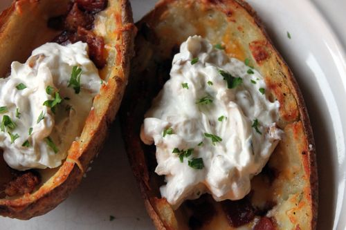 Potato Skins with Onion Sour Cream