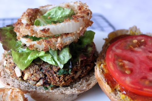 Nutty Veggie Burger with Onion Rings