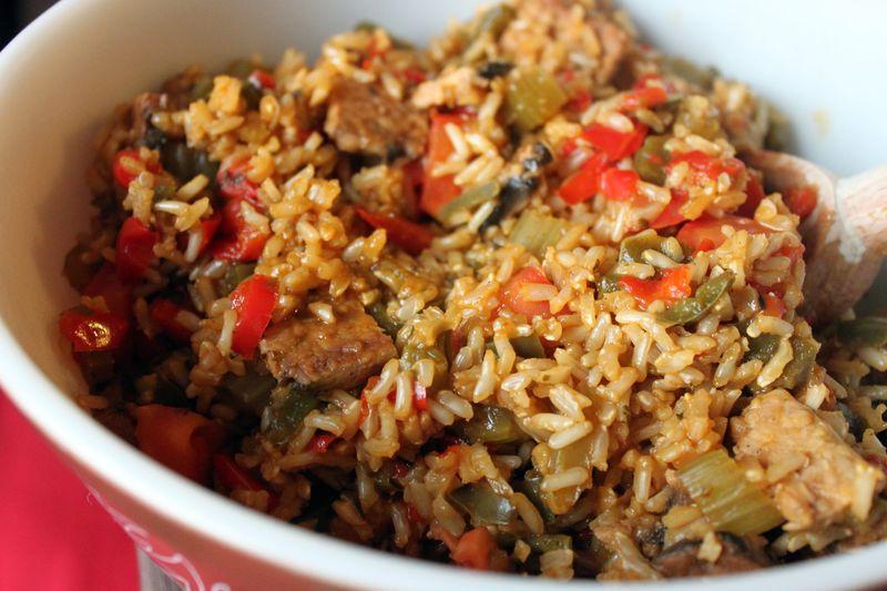 Vegan Jambalaya with Brown Rice Smoked Tempeh